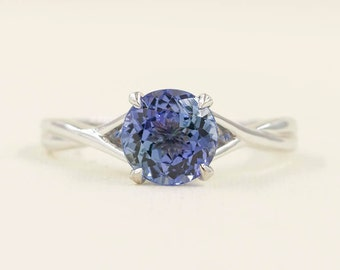 Tanzanite Engagement Ring.Solitaire Wedding Ring.14k White Gold Ring .Solitaire Engagement Ring.Simple Engagement Ring.7mm AAA Quality.