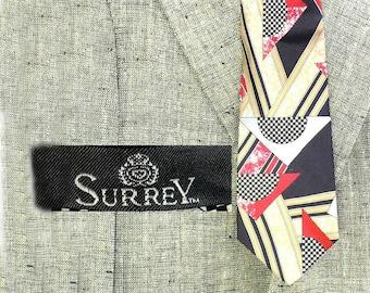 Abstract silk necktie -retro 60's necktie - mid century silk tie - dress suit necktie -vintage Abstract tie - mod necktie -   # T 15