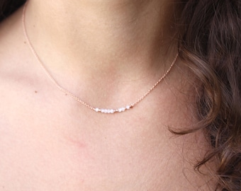 Moonstone Necklace Rose Gold Necklace Bar Necklace Genuine Moonstone Chocker Necklace Delicate Gold Necklace-Moonstone Chain Necklace