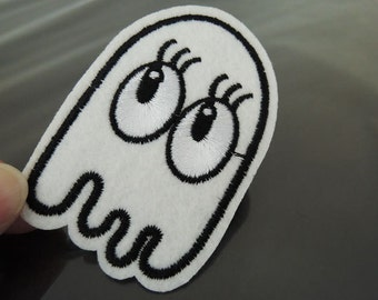 Iron on Patch -  Cute Ghost Patches White Ghost with Eye Patch Iron on Applique embroidered patch Sewing Patch