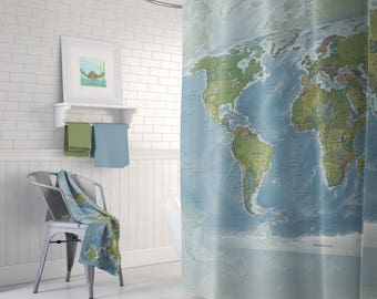 Map Shower Curtain -  topographic - Home Decor - Bathroom - countries,  map, blue, green globe - natural colors