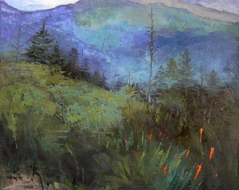 Mountain Giclee' Canvas Print, Impressionist Landscape Giclee, Landscape Print,  Free Shipping, Choose your size, Ready to Hang, No Frame