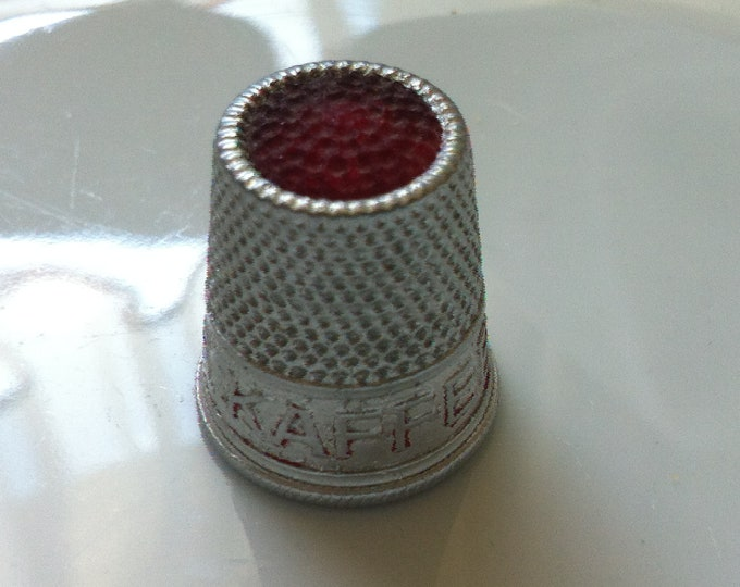 Vintage old Emperor Coffee aluminum thimble size 17 mm old advertising
