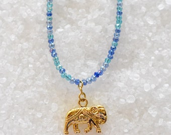 Emma | Gold Elephant Necklace, Blue Elephant Necklace