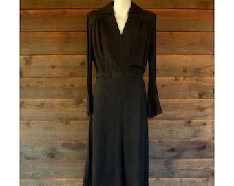 Vintage Dark Brown Wool Crepe Dress with Sheer Sleeves, 1960-70s, Size M