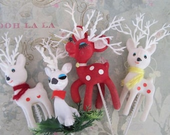 Four Vintage Flocked Reindeer Red & White Vintage Reindeer Picks Vintage Christmas Deer Picks Kitschy Christmas