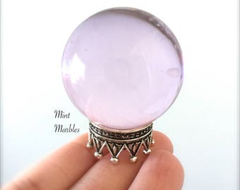 Magic Purple Crystal Ball Miniature. Home Decor. Desk Totem. Fantasy. Spells. Wizards. Fortune Teller. Clairvoyant. Glass. Clear. Sphere.
