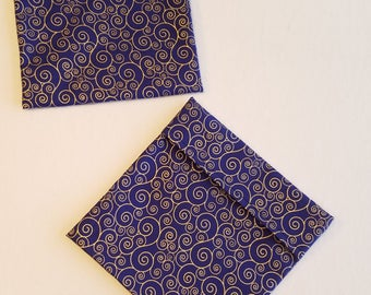 Lined Sandwich Bag-- Dark Blue with Metallic Gold Swirls