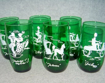 Forest Green Gay Nineties Roly Poly Tumbler Anchor Hocking 4 Design Set of 6