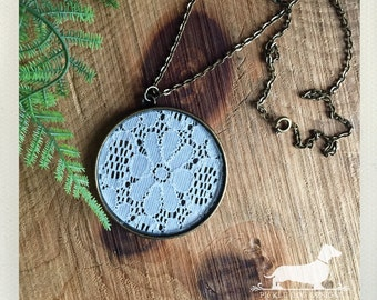 DOLLAR DEAL! Encircled Lace. Necklace -- (Vintage-Style, Boho Chic, Rustic, Lace Jewelry, Antiqued Brass, Bridal Jewelry, Cute Gift Under 5)