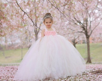 Flower Girl Dress - Blush Flower Girl Dress -Tulle Flower Girl Dress - Tulle Dress-Infant/Toddler -Pageant Dress -Princess Dress-Blush Dress