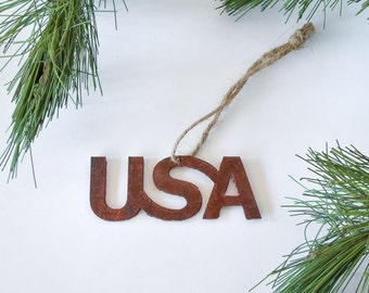 USA Rusty Metal Ornament / United States of America Ornament / Christmas Ornament / USA Yard Art / Holiday Ornament / Housewarming Gift