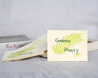 Garden Party Invitations - Vintage Invitations - Retro Invitations - Thermo Glo Notes - Summer Party Invitations - Vintage Stationery
