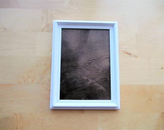 Copper-Infused Abstract Scrying Mirror in White Frame