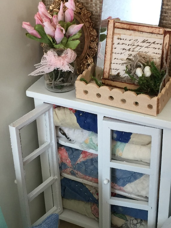 Miniature Quilt Hutch with Vintage Blue Quilt pieces and Handmade Accessories