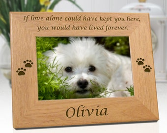FREE SHIPPING - Dog Memorial Frame Personalized With Name - If Love Alone - Engraved Wood Picture Frame - Free Sympathy Card, Box & Bow