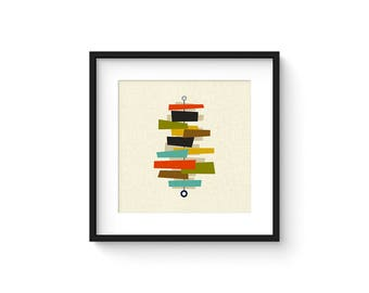 FOUNDATION - Square Version - Giclee Print - Mid Century Modern Danish Modern Minimalist Cubist Modernist Abstract Eames