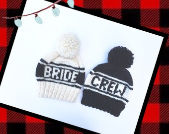 Bride and Crew Beanie Set, Hand Knit Hats for Bachelorette Parties, Bridesmaid Gifts, Pom Pom Beanies for Winter Wedding Photo Props