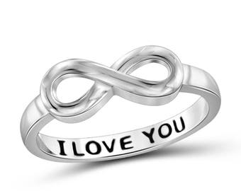 Sterling Silver I Love You (in French) Engraved Infinity Ring uNRs70