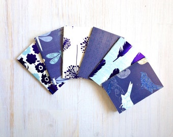 Notebooks: Small Notebooks, Stocking Stuffer, Blue, Teal, Birds, For Her, Favors, Cute Notebooks, Mini Journals, 6 Tiny Journals Set, T118
