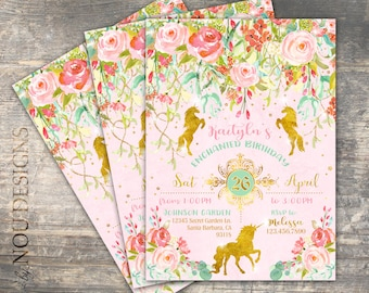 Sparkle Unicorns in Enchanted Garden Birthday Invitation Card- Printable File