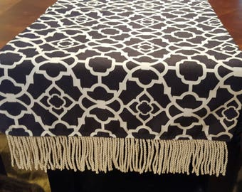 Graphic Patterned Black and White Table Runner/Dress Scarf