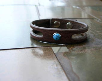 Lil Trinity Leather Bracelet, Men's Women's Turquoise Bracelet, Native American Style Leather Jewelry, Boho Hippie Tribal Leather Wrist Band