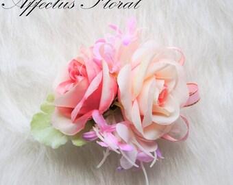 Bridesmaid Wrist Corsage, Wrist Corsage, Blush Corsage, Rose Corsage, Bridesmaid Corsage, Silk Flower Corsage, Prom Corsage