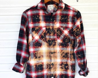 SMALL - Flannel Shirt - Bleached - Vintage Washed Flannel - Oversized Flannel - Distressed Flannel - Plaid Shirt - Fall Shirt