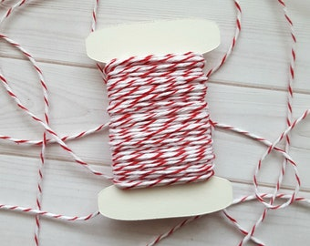 10 Yards Cherry Baker's Twine, Red and White Baker's Twine, 100% Cotton, Divine Twine
