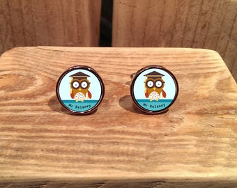 Teacher Owl Cufflinks - can be fully personalised
