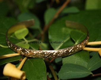 Gold Cuff Bracelet - 14K Gold Filled Cuff - Floral Pattern Cuff - Wave Pattern Cuff - Gold Filled Bracelet - Gold Minimalist Jewelry