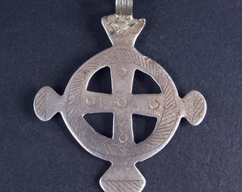 Antique silver coptic cross pendant. Ethiopia, Africa. Tribal, ethnic jewelry