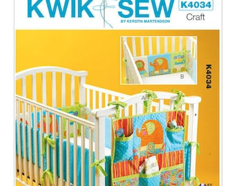 Sewing Pattern for Organizers and Crib Bumpers for Baby's Nursery, Kwik Sew # 4034, Baby Nursery Essentials, Crib Bumpers, Crib Organizers