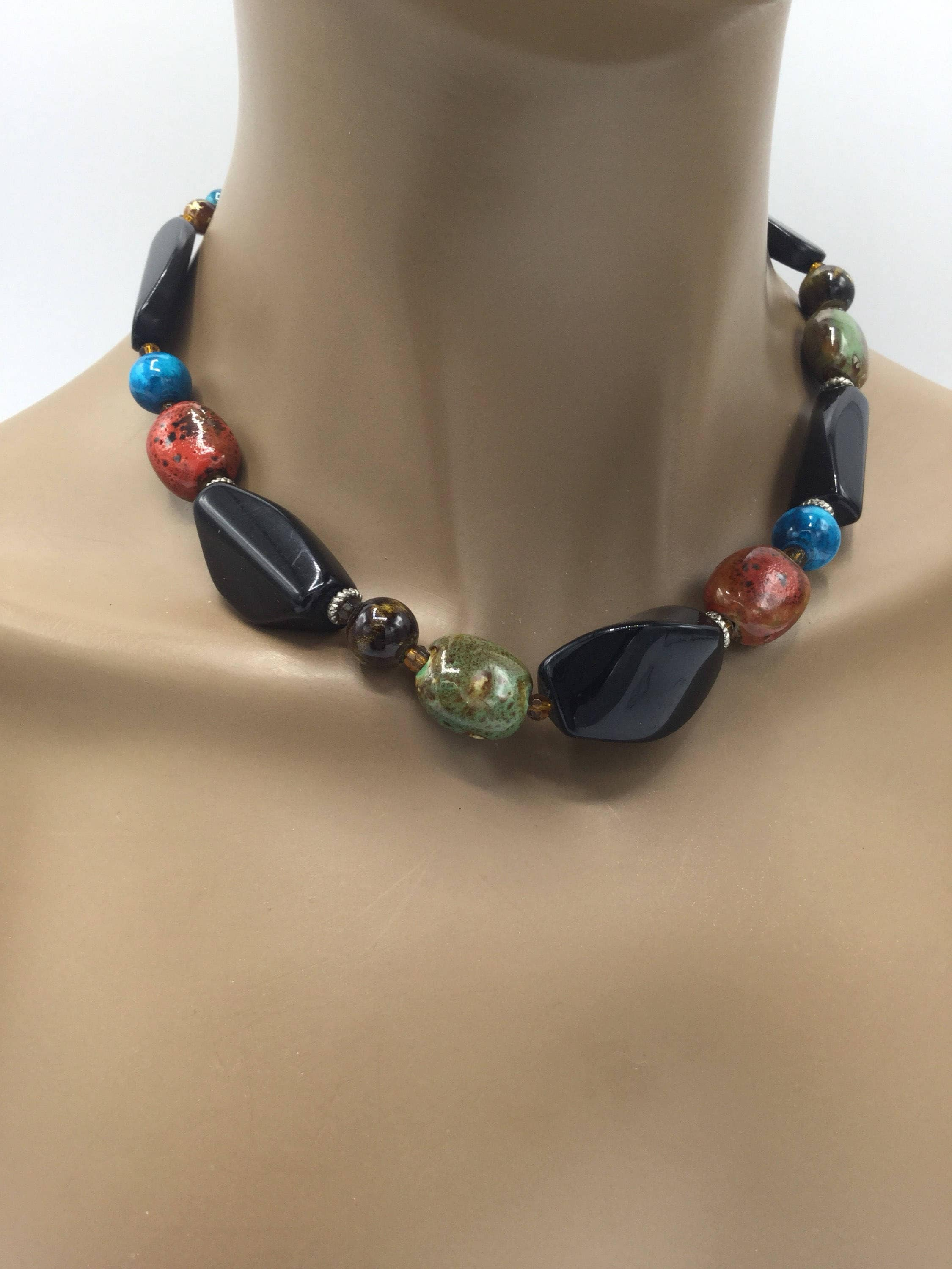 gemstone jewelry big beaded necklace black copper jewellery art green and stone onyx inspired skies deco