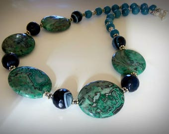 Green Agate Necklace Blue agate necklace Green necklace Vintage style necklace Engagement Mother's day gift Boho Collar Green agate necklace