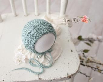 Cole Bonnet ~ Newborn Baby Bonnet | Baby Boy | Hand Knit | Photography Prop | Newborn Photography Prop