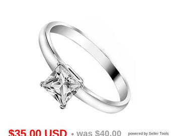 Solitaire Ring Princess Cut Engagement Ring Stacking Ring Promise Ring for Her Thin Engagement Ring Small Engagement Ring Thin Ring CZ Ring
