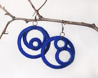 Blue earrings Crocheted earrings Circle earrings Royal blue jewelry Geometric earrings Blue boho earrings Statement earrings Crochet jewelry