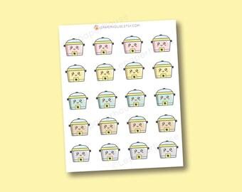 Lente autocollants mijoteuse Crock-Pot - Kawaii cuisson / cuisine stickers planificateur, Erin Condren autocollants, agendas