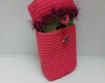 crocheted tissues Case Bag Hotpink Hollywood glamour ~ crochet handkerchiefs sleeve Hotpink Hollywood glamour