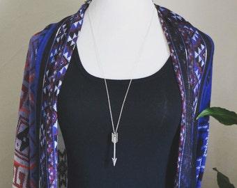 Arrow necklace - extra long necklace - layering necklace - archer necklace