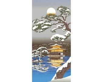 Hamamonyo Nassen Tenugui Towel Kinkakuji in the Winter Landscape