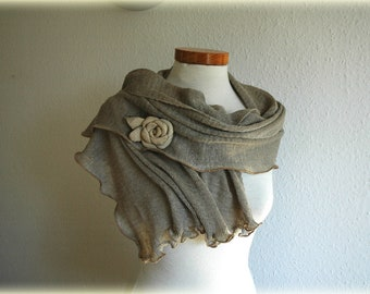 Grey Scarf  LINEN, Knitted Linen Leather Rose, Eco Friendly, Clothing Natural,  Fashion Accessories ,Linen Shawl, Gift for Mother's day