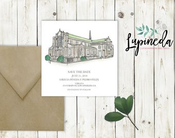 watercolor save the date, watercolor wedding venue, personalized save the date