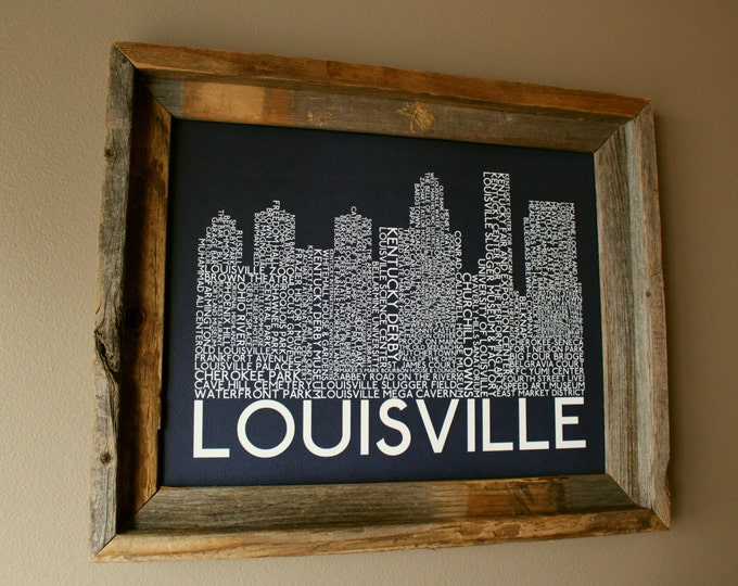 Louisville Skyline Word Art Print (Dark Blue) - Unframed