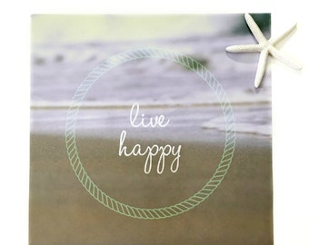 Coastal Poster Print | Beach House Poster | Ocean Poster Decor | Gold Poster Quotes | Large Live Happy Poster | Minimalist Poster Wall Art