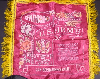 Vintage U.S. Army souvenir pillow case