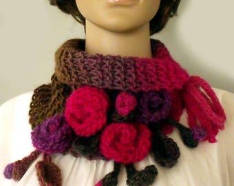Boho scarf cowl Knit crochet cowl Neckwarmer scarf Freeform crochet Flower leaf scarf Wool gypsy scarf Fall winter scarf Victorian collar