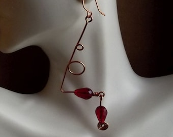 Abstract Dangling Copper Earrings - Siam Red